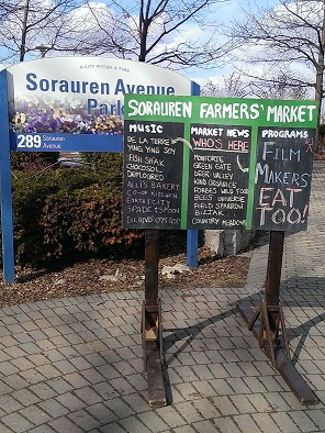 sorauren farmers market sign
