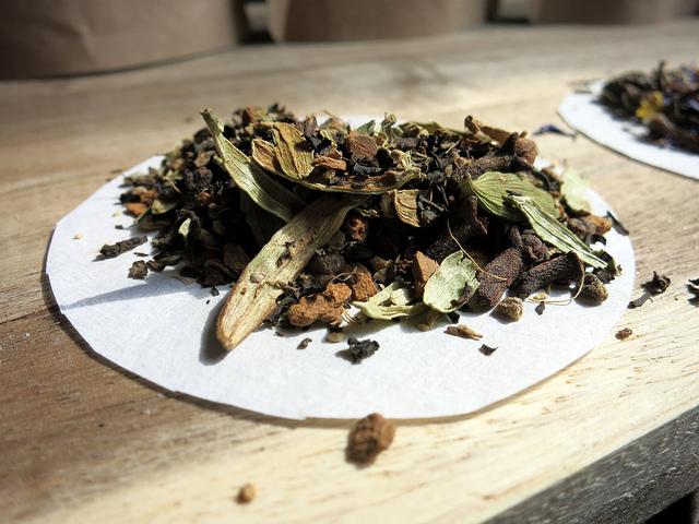 Chai tea on filter paper