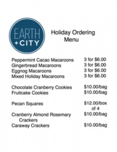 Earth and City Holiday Menu