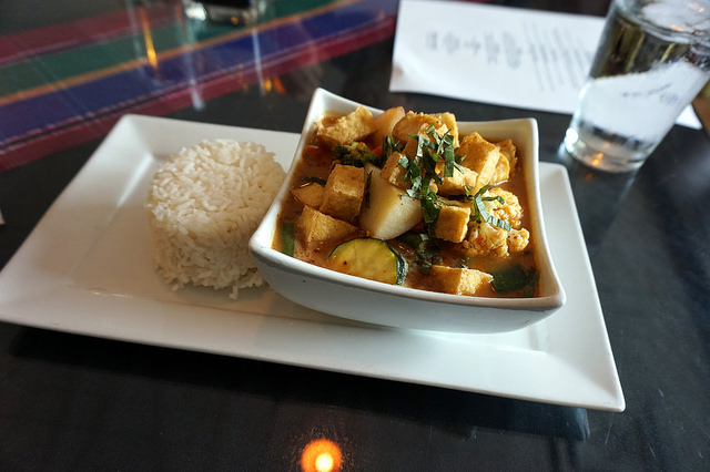 Spicy Massamun Curry with Fried Tofu Cubes